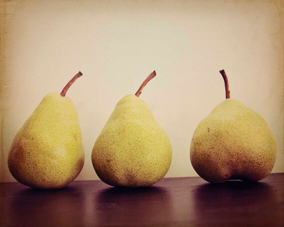 Pears green golden yellow in the Sun - 8x10 Fine Art Food Photography