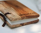 """small woodcover blank journal - made from reclaimed wood and recycled paper - """"journal"""" woodburned on the cover"""