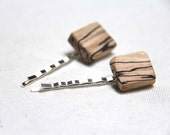 stripe - spalted maple bobby pins