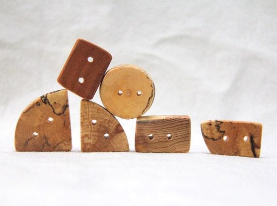 a mixed batch - 6 wood buttons