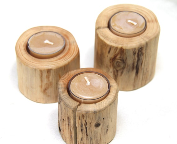 cedar - 3 individual candle holders - with beeswax candles