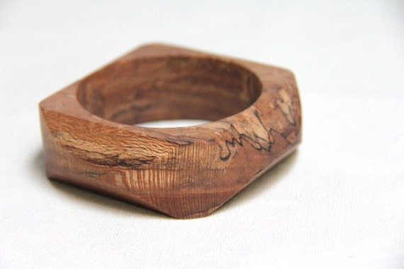 angled -  wood bangle made from spalted sycamore - small
