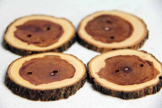 large and lilac - natural wood buttons