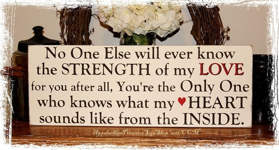 No One Else Will Ever Know the Strength of My Love- Nursery Decor Family Sign-Wood Sign- Mother to Child Gift Mothers Day Gift for Mom