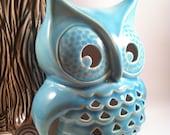 Ceramic Vintage Lantern Owl Night LIght Home Accessories , Turquoise