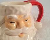 Vintage Ceramic Santa Mug, Small