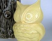 Vintage Ceramic Owl Coin Bank, Sun Yellow