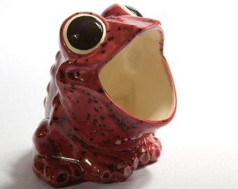 Vintage Scrubby Holder Ceramic Frog Sponge Holder Kitchen Gift , Cranberry