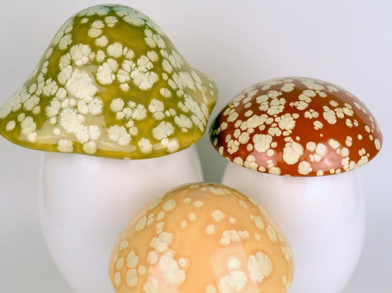 Items Similar To Ceramic Mushroom Canisters Home Decor