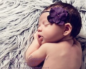 dark purple velvet hydrangea flowered headband - newborn headband - infant headband - toddler headband - photo prop