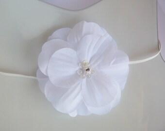 snow white silk flower on skinny elastic headband