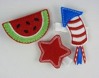 patriotic summer felt hair clips - three pack
