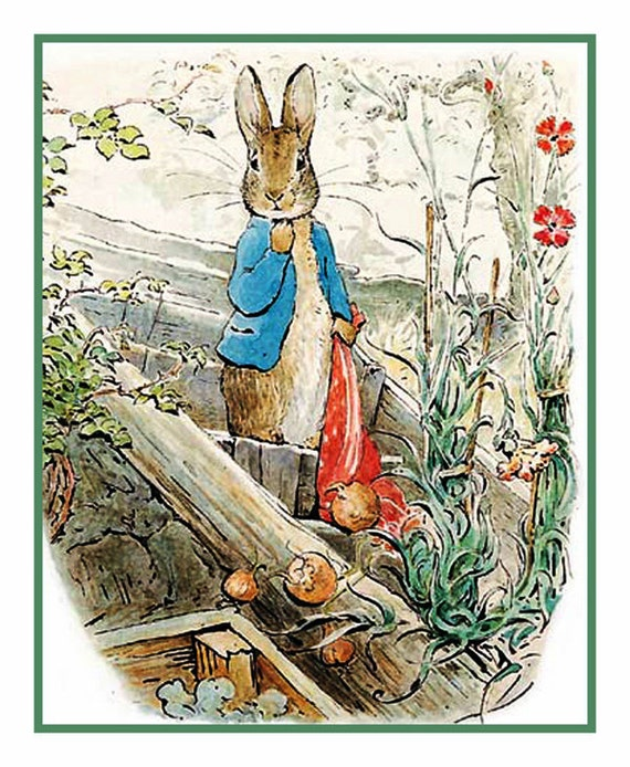 Peter Rabbit carrying onions in Red Handkerchief by Beatrix Potter Counted Cross Stitch Chart / Pattern FREE Shipping