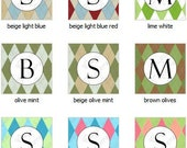 Custom Order for bmiram01 - Argyle Monogram Cupcake Toppers