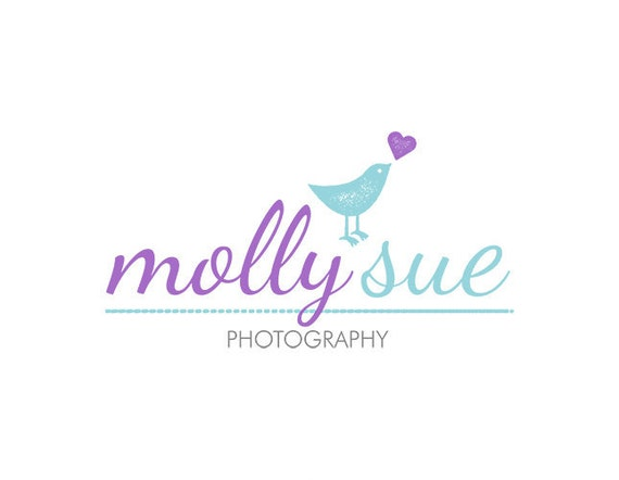 Photography Logo Premade Watermark Design for Photographers Premade Logos, Bird Heart Purple Blue Dotted Cute Girly