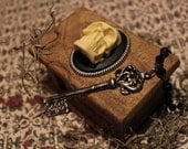Skeleton Key Necklace with Wooden Skull box - SKELETON'S in the CLOSET - CURIO - Voodoo - Day of the Dead