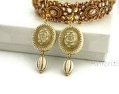 Earrings ivory gold ethnic cream lucite beads