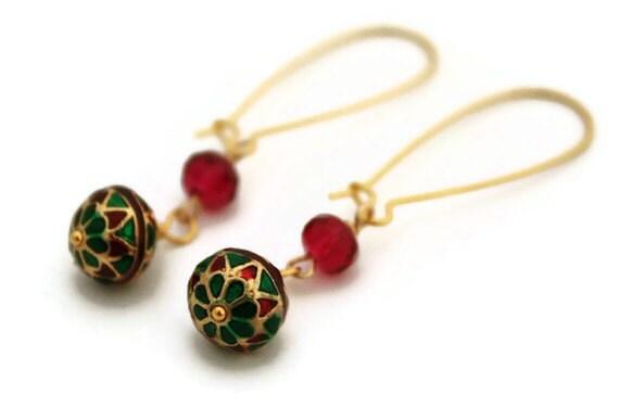 Jaipur earrings enamel painted emerald green red gold