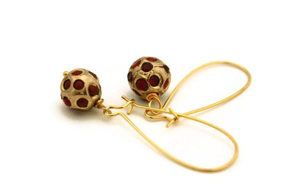 Gold earrings red indian bead ethnic jewelry