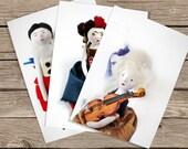 Art Dolls Prints  - set of 12 cards