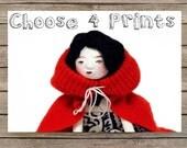 Pick 4 Prints - Art Doll Print  - set of 4 cards