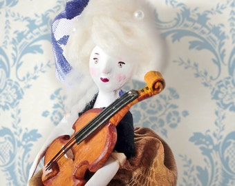 The Stradivarius violin player - Original Handmade Paper Clay Doll - One Of A Kind