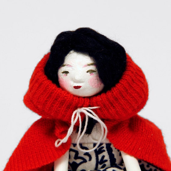 Art Doll - Little Red Riding Hood - Contemporary Handmade Paper Clay Doll - One Of A Kind