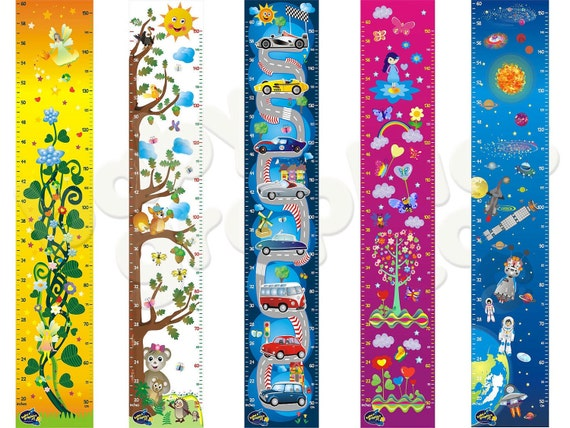 growth/ height charts 5 designs ( fairies, tree with animals,cars, flowers, space and planets) by babygraphics
