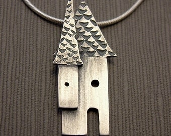 Silver House Necklace - oxidized metalsmith jewelry, metalwork jewelry, house pendant