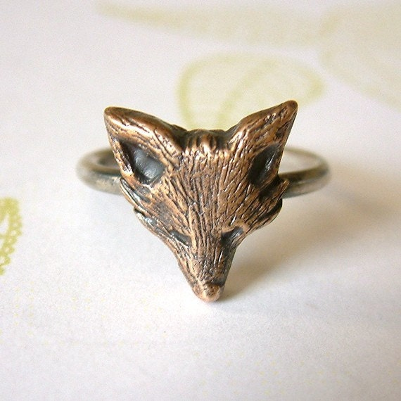 RESERVED Handmade Fox Ring - Bronze and Silver - size 7.75