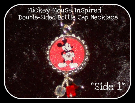 Mickey Mouse Inspired Double Sided Bottle Cap Necklace Vintage Style Image