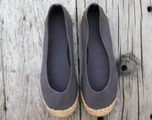 Dark Grey Ballet Flat Espadrilles - Available in 6, 7, 8, 9 US Sizing / 36, 37.5, 38.5, 40 EUR Sizing