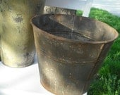 2 Primitive metal sap buckets, Vintage antique farm rustic pre dates WWII, perfect for garden, rusty and imperfect, with rusty metal tone bucket, flowers, beer bucket, planting