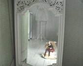 Syroco vintage painted  mirror in cottage white - shabby chic