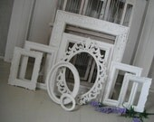 white picture frames, shabby chic picture frames, French country, photo frames, white photo frames, distressed frames, weddings