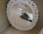 reserved - Shabby chic wall mirror rose mirror ornate painted mirror french country white mirror