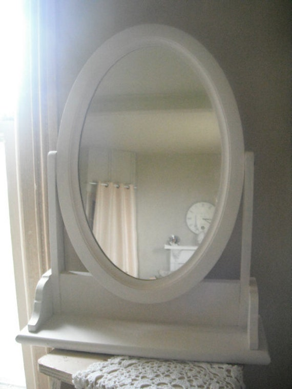 Oval free standing mirror on swivel stand shabby chic
