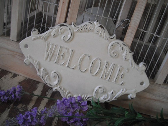 Shabby Chic Welcome Sign Door Sign Cast Iron Sign French