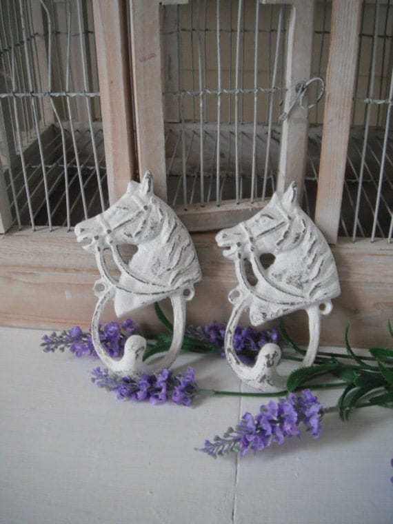horse hooks pair wrought iron hooks shabby chic farmhouse rustic french country distressed hooks cottage chic wall hook