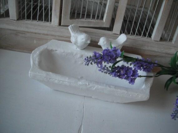 shabby chic plaster birddish bathroom decor, soap dish, trinket holder, french country, cottage chic