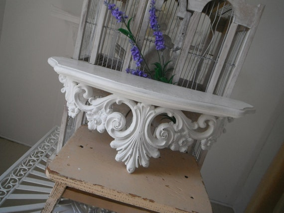 ornate wall shelf shabby chic french country painted syroco wall shelf country chic ornate shelf