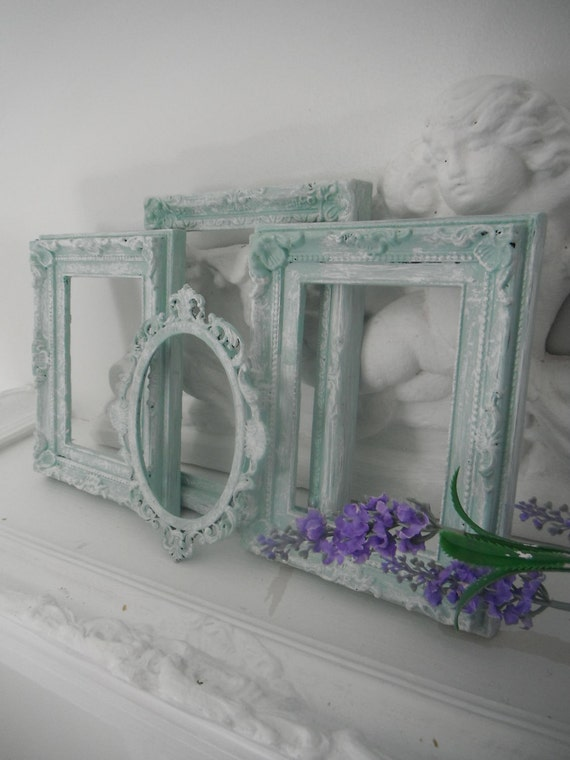 seafoam green antiqued picture frames beach cottage decor shabby chic OOAK photo frames French country ornate wall decor