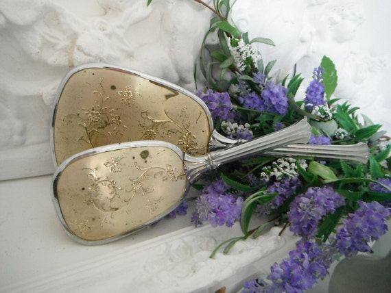 Shabby chic mirror and brush set hand held mirror hand held brush, vintage brush and mirror french country aged patina