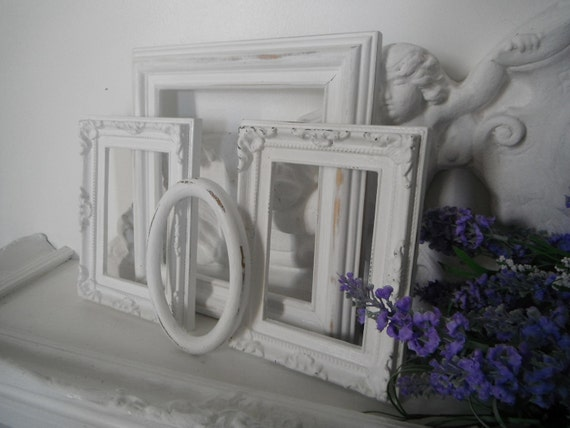OOAK 4 piece picture frames shabby chic open frames white wedding picture frames shabby chic white picture frames French country ornate