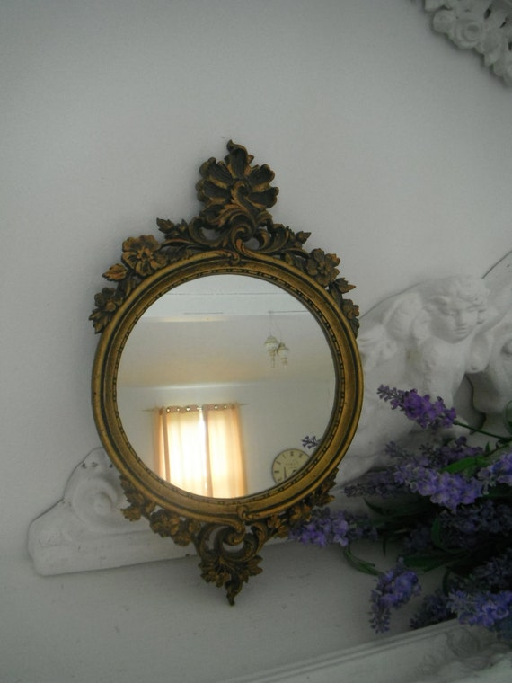 Reserved for Emily Vintage ornate small mirror shabby chic mirror french country wall mirror round mirror cottage decor victorian