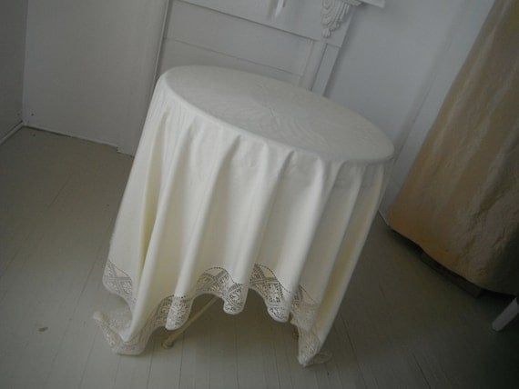 lace edge vintage tablecloth shabby chic cream tablecloth rectangular tablecloth French country weddings cottage decor