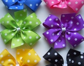 Pick 3 Large Dotted Hair Bows-15 Color Choices