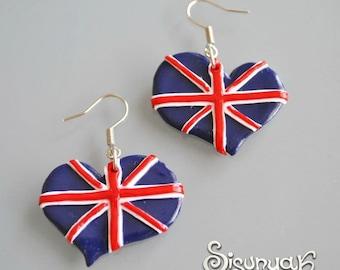 British flag hearts Earrings I love GB
