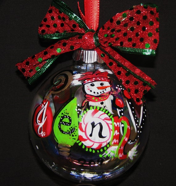 Personalized Christmas Ornaments Softball Sized with cute Snowman and Christmas lettering