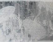 large abstract painting.  modern mixed media original.  48x24.  i'll take grace.